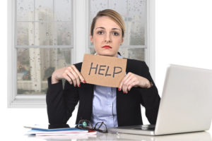 work frustration, business woman asks for help