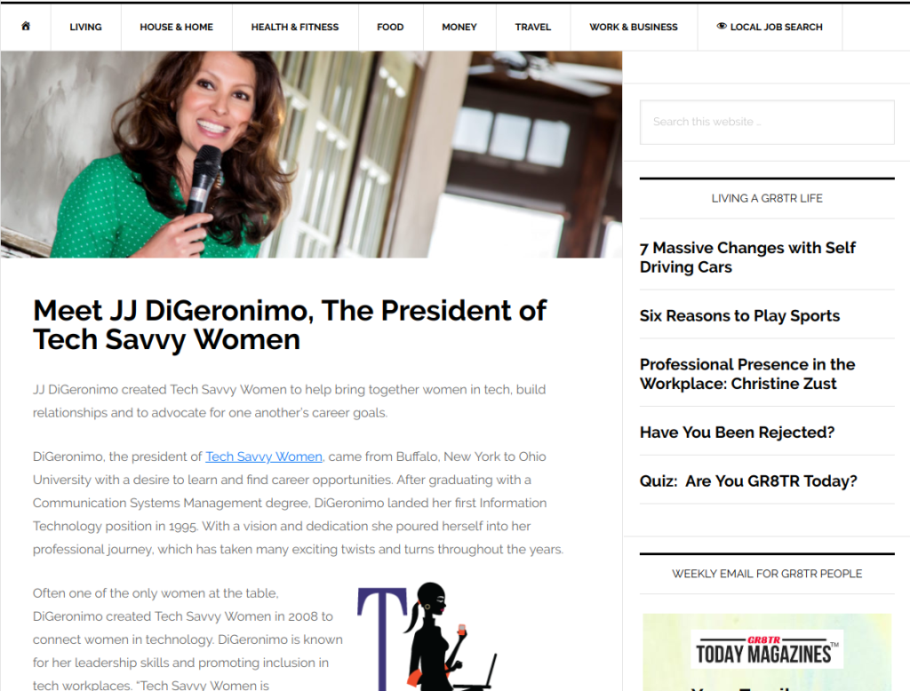 Meet JJ DiGeronimo, The President of Tech Savvy Women - GR8TR Today Magazine